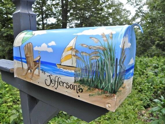 Hand Painted Mailbox NANTUCKET BEACH Umbrella By