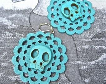 sugar skull Earrings,  Wood Earrings laser cut,  turquoise blue wood and howlite.