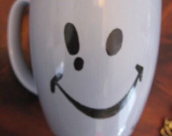 Vintage Smiley Face I Mean It Blue Stoneware Mug Artist Signed High Fired One of a Kind Can Be Used for Soup Coffee Tea Explanation Point