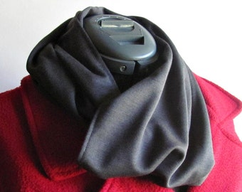 Charcoal Gray Infinity Scarf - Ponte Knit Scarf - Winter Fashion