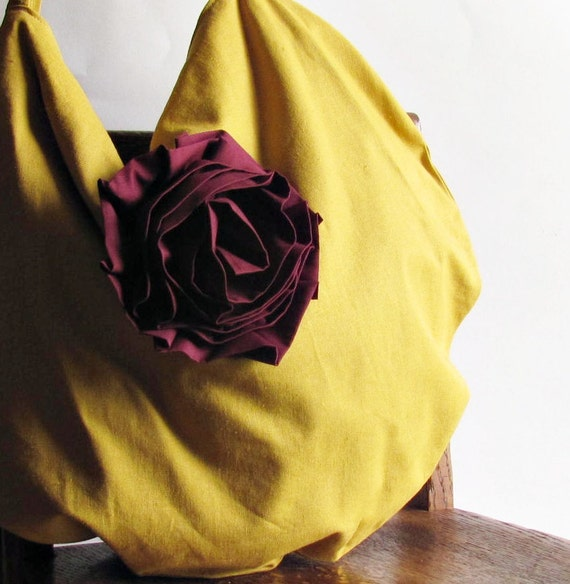 Slouchy Linen Hobo Bag - Mustard