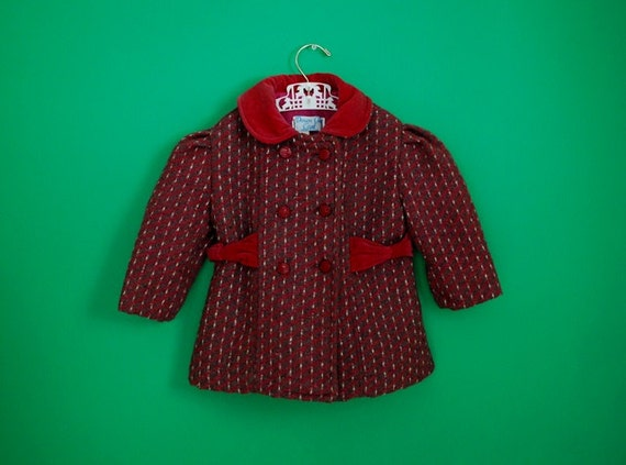 Vintage Toddler Girl's Fuschia and Gray Wool Coat- Size 2T