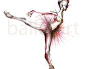 Ballerina Art print, dance Dance gifts, wall art, illustrations print, Ballet art, dancer painting, girls room art, gift for her, arabesque