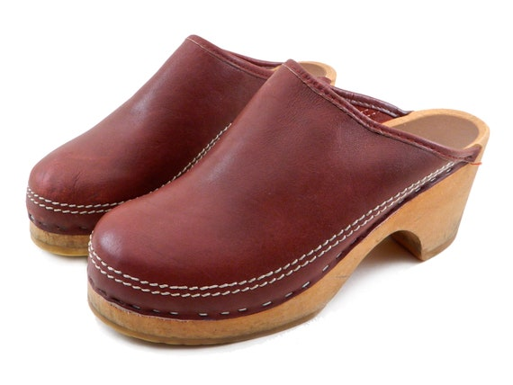 Vintage Clogs Burgundy Dark Red Made in Sweden 1980s Wood Platform size 8