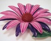 Flower Power Lavender and Violet Purple Enamel Daisy Pin Brooch