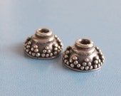 One Pair (2pcs) Fancy Little Decorated Sterling Silver Bali Bead Caps
