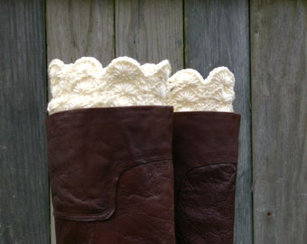 Crochet Boot Cuffs Lace Boot Cuffs Knit Boot Toppers Boot Socks in Cream
