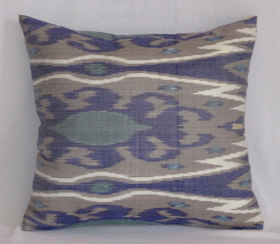16x16 Silk cotton Uzbek Ikat Pillow case - BOTH SIDE IKAT