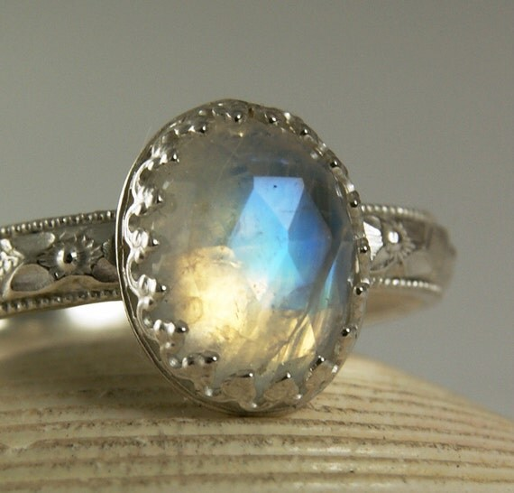 Sterling Silver Moonstone Ring, Faceted Blue Stone, Rainbow Flash, made to order