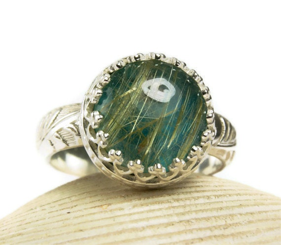 Gold Rutilated Quartz Chrysocolla Ring, Sterling Silver, Natural Stone, Handmade Jewelry, size 6