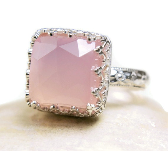 Chalcedony Ring Sterling Silver Natural Pink Stone Rose Cut Hanmade-made to order in your size