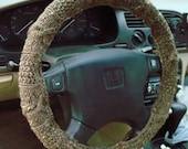 SALE Heathered Brown Knit Steering Wheel Cover with safety rubber backing