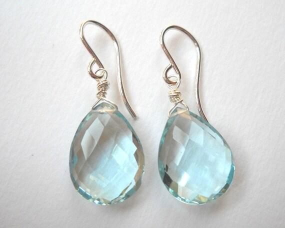 Blue Topaz Briolette Earrings - Sterling Silver Aquamarine Teardrop Dangle Earrings