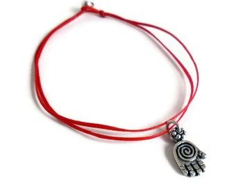 Sterling Silver Hamsa - Hand of Fatima - Red Kabbalah String - Protection bracelet