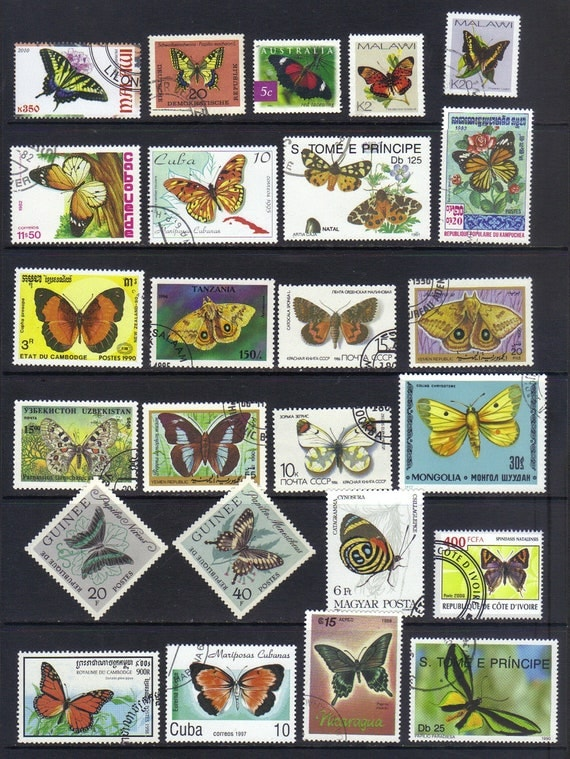 Butterfly postage stamps - Vintage postage stamps for scrapbooking - collage - card making (3)