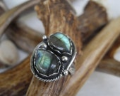 labradorite ring size 5 1/2 in sterling silver with two stones of blue and green flash one of a kind handmade