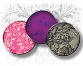 Colorful Lace 1 Inch Circles Digital Collage Sheet Ready to Print