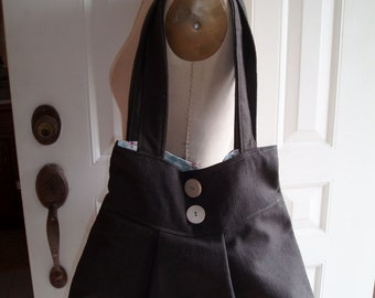 Natural Brown Cotton  Pleated Bag with Double Straps