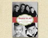 Simple Tidings of Joy 3 Photo Card, Photo Christmas Card, Photo Holiday Card, Modern Photo Card, Christmas Cards, Red and Green Card