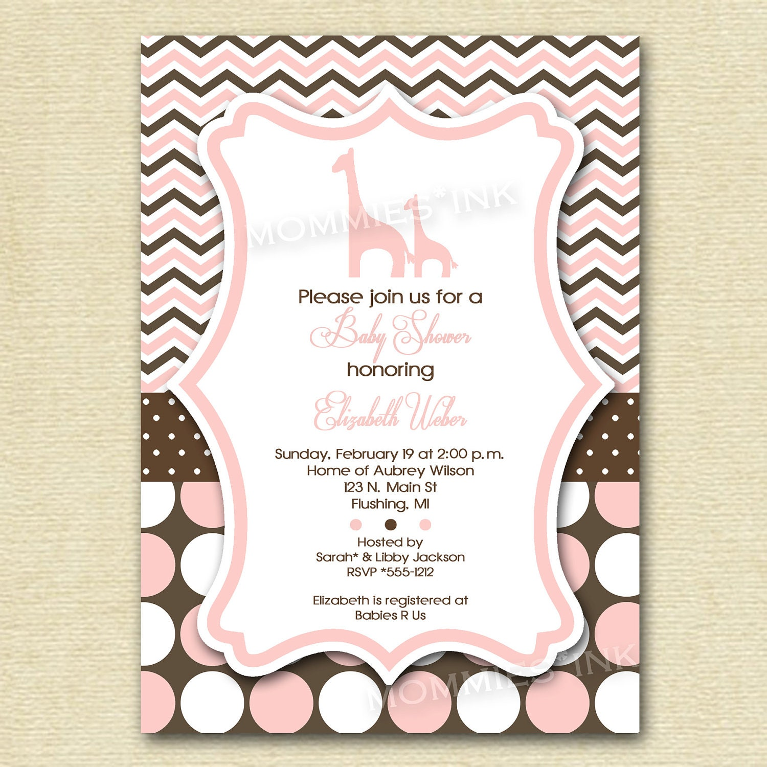 baby shower invitation giraffe baby shower by mommiesink on etsy