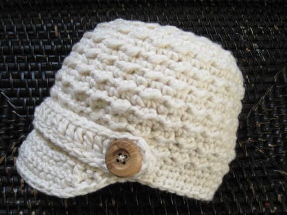 Textured Newborn Newsboy Hat / Ivory / Ready To Ship
