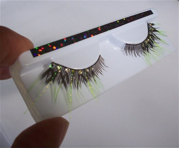 Fluorescent Rainforest Tribal Green Feather Eyelashes One of a Kind