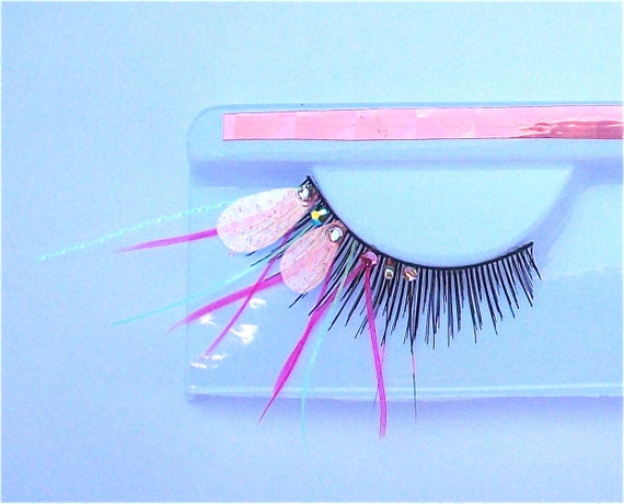 NEW Pink Baby Dragonfly Glow in the Dark Feather Eyelashes