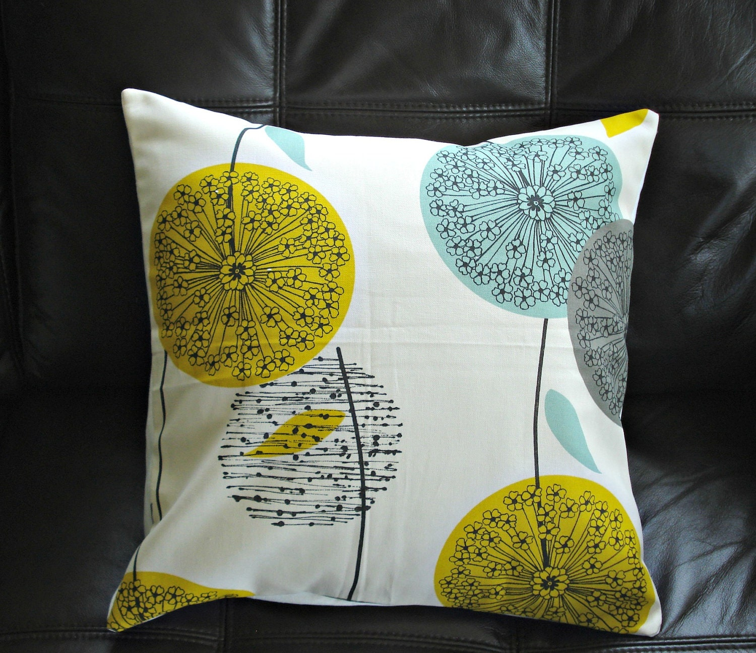 Decorative pillows teal mustard yellow dandelion blue by VeeDubz