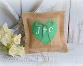 Burlap pillow with green heart customized your initials