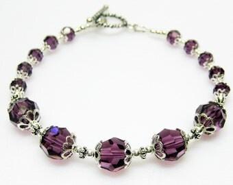Sale Amethyst and Sterling Silver Swarovski Bracelet - Purple Crystal Bracelet - February Birthstone Bracelet - Plus Size Bracelet