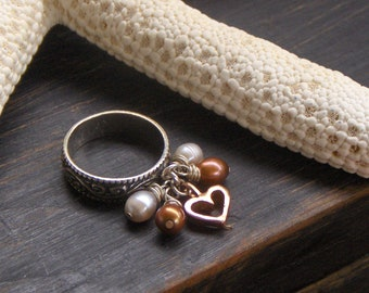 Calypso's Heart and Pearls. 14 K Russian Red Gold, Sterling Silver. Freshwater pearl charm ring Gift for her. #etsymatch