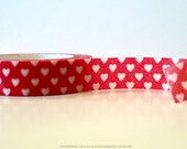 Heart washi tape Small White Heart on Red Wedding Love