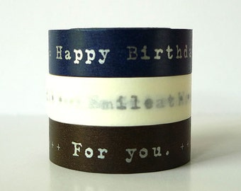 NAVY SILVER Happy Birthday Washi Tape Thank You Japanese Masking Tapes For You, Messages - Set of 3 PrettyTape