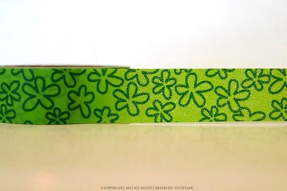Chugoku Washi Tape Green Flower Outline
