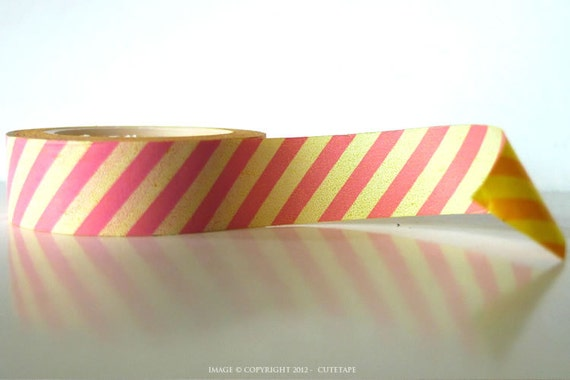 Chugoku Washi Tape - Pink and Ivory Stripe