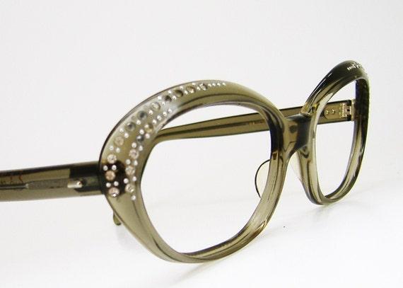 Vintage 1970s Oversized Big Lens Cateye Eyeglasses Eyewear Frame France