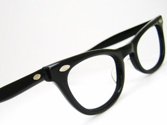 Vintage Black Horn Rim Cateye Eyeglasses Eyewear Frame American Optical