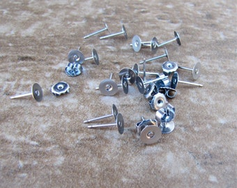 200 pcs 6mm Surgical Stainless Steel Flat Pad Earring Posts and Backs - 100 pairs