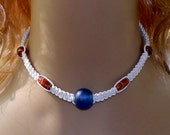 White Hemp Hand Knotted Necklace With Blue Glass Center Bead