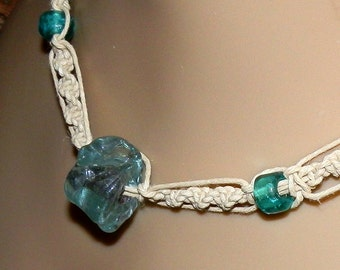 Ocean Blue Glass Beaded Macrame Natural Hemp Necklace