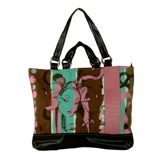 60% OFF  & FREE SHIPPING ooak Neapolitan silkscreen and leather Day Packer Bag