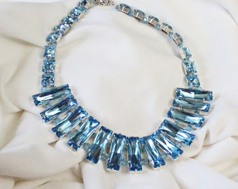 Aquamarine Swarovski Crystal Bagette Necklace