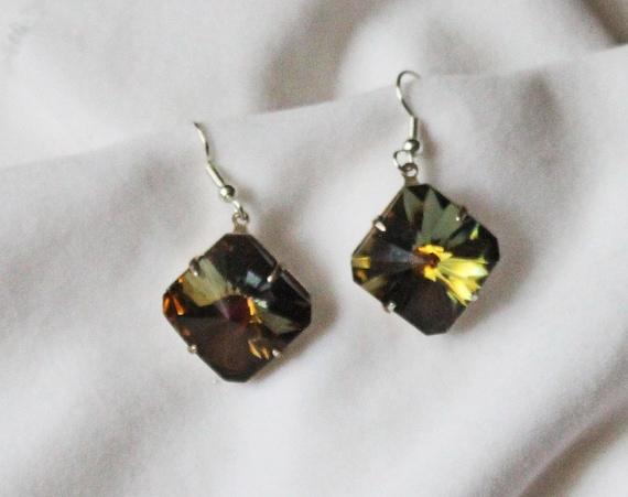 Tabac (olive brown) Swarovski Crystal Earrings