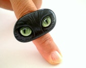 Black Cat Eye Statement Ring - Hand Painted Whimsical Art Stone Ring- Adjustable unique wearable art jewelry, summer fashion