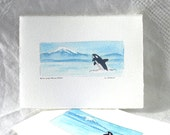 Killer Whale Original Watercolor Card