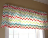 50x15 Window Valance - Chevron/zig zag - Modern, Contemporary - Red, turquoise, lime, grey, white - Ready To Ship