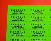 60 PERSONALIZED FRAGILE Handle with Care Labels. 2 Sheets Neon Green 1-Inch Labels. 5094