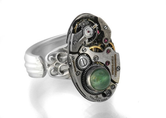 Moss Agate Steampunk Ring with Vintage Watch Mechanism - Size 8 Steampunk Ring