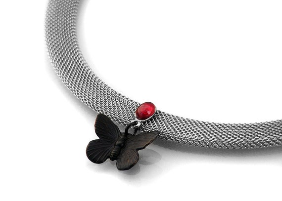 Ruby and Black Butterfly Steampunk Necklace, Mesh Choker - Gothic Revival Ruby Gemstone Victorian Gothic