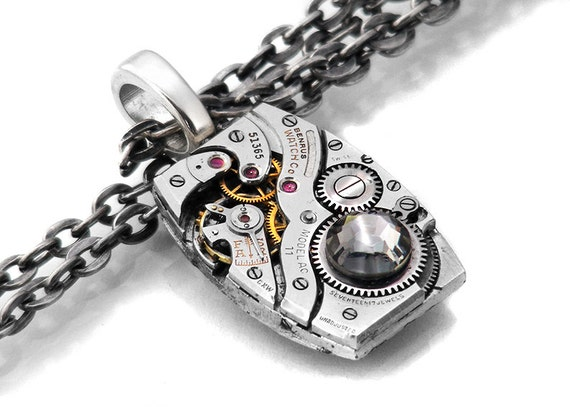 Steampunk Necklace, Black Diamond Crystal & Vintage Benrus Watch Movement - Long Chain Necklace
